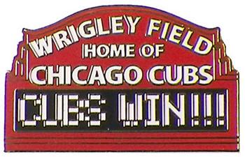 "Wrigley Field - ""Cubs Win!"" Pin"
