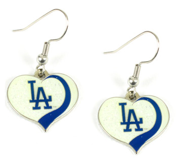 Los Angeles Dodgers Swirl Heart Earrings