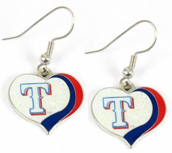 Texas Rangers Swirl Heart Earrings