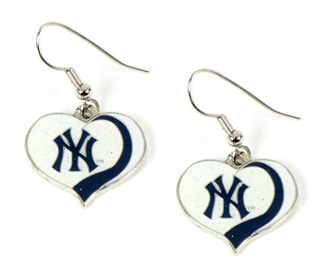 New York Yankees Swirl Heart Earrings