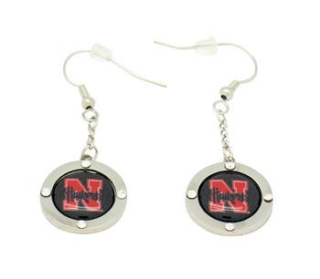 Nebraska Circle Crystal Dangle Earrings