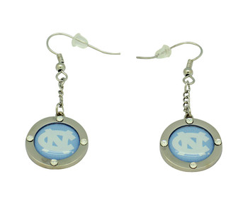 North Carolina Team Circle Crystal Earrings