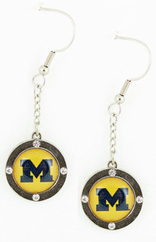 Michigan Wolverines Circle Crystal Earrings