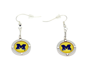 Michigan Team Circle Crystal Earrings