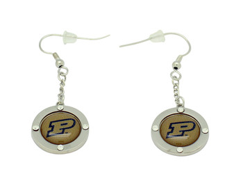 Purdue Team Circle Crystal Earrings