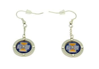 Illinois Team Circle Crystal Earrings
