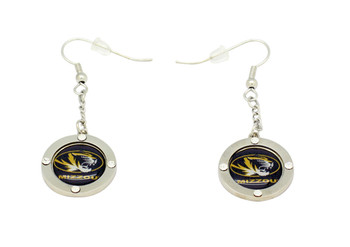 Missouri Team Circle Crystal Earrings
