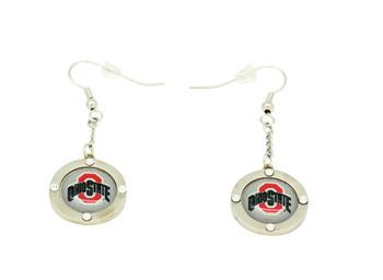 Ohio State Team Circle Crystal Earrings