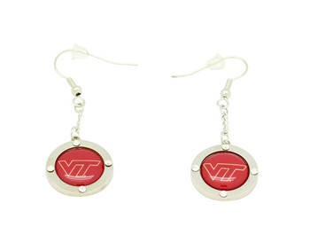 Virginia Tech Team Circle Crystal Dangle Earrings