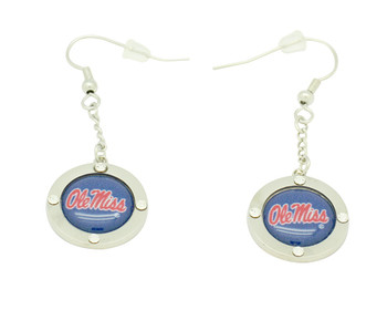 Ole Miss Team Circle Crystal Earrings