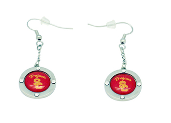 USC Team Circle Crystal Earrings