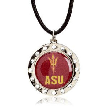 Arizona State Crystal Circle Necklace