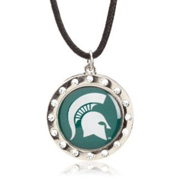 Michigan State Crystal Circle Necklace