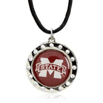 Mississippi State Crystal Circle Necklace
