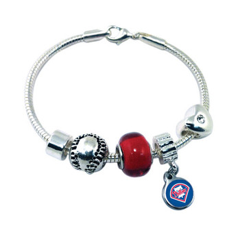 Philadelphia Phillies P Logo Baseball Bead Bracelet (Red Glass Bead)