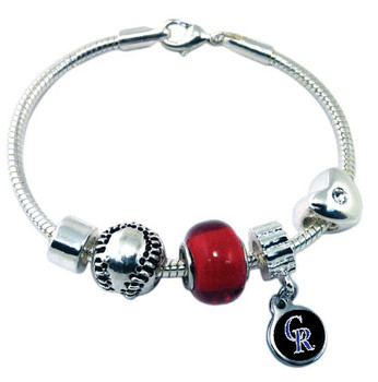 Colorodo Rockies Baseball Bead Bracelet (Blue Bead)