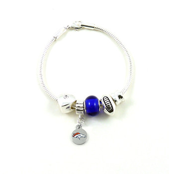 Denver Broncos Football Blue Bead Bracelet