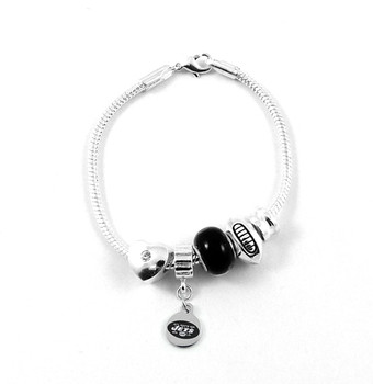 New York Jets Football Black Bead Bracelet