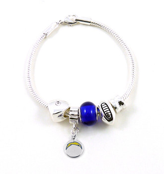 San Diego Chargers Football Blue Bead Bracelet