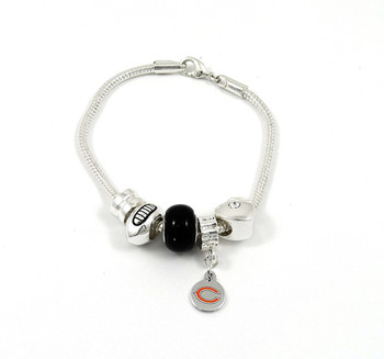 Chicago Bears Football Black Bead Bracelet