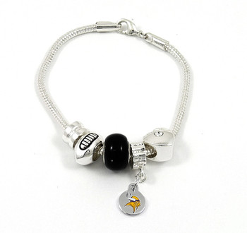 Minnesota Vikings Football Black Bead Bracelet