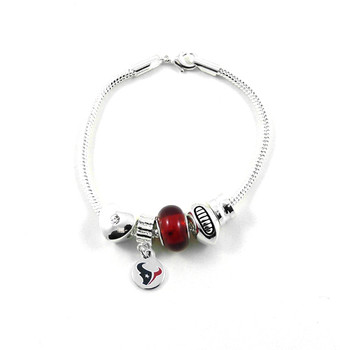 Houston Texans Football Red Bead Bracelet