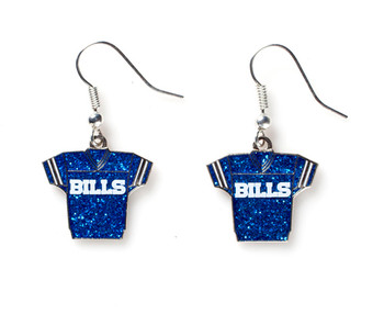 Buffalo Bills Jersey Glitter Dangler Earrings