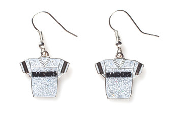 Oakland Raiders Jersey Glitter Dangler Earrings