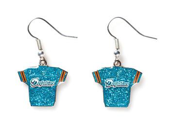 Miami Dolphins Jersey Glitter Dangler Earrings