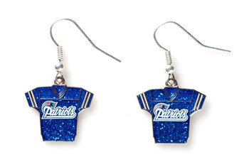 New England Patriots Jersey Glitter Dangler Earrings