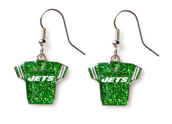 New York Jets Jersey Glitter Dangler Earrings