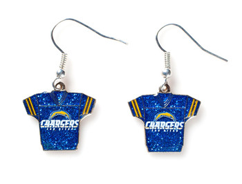 San Diego Chargers Jersey Glitter Dangler Earrings