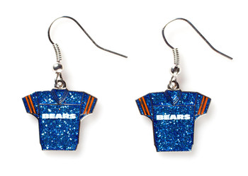 Chicago Bears Jersey Glitter Dangler Earrings
