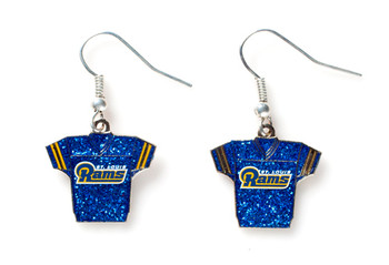 St. Louis Rams Jersey Glitter Dangler Earrings