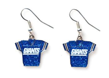 New York Giants Jersey Glitter Dangler Earrings