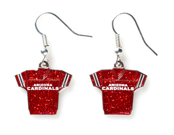 Arizona Cardinals Jersey Glitter Dangler Earrings