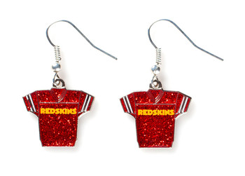 Washington Redskins Jersey Glitter Dangler Earrings