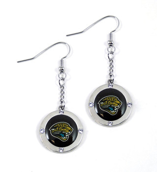 Jacksonville Jaguars Round Crystal Dangler Earrings