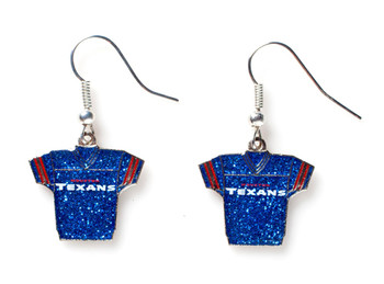 Houston Texans Jersey Glitter Dangler Earrings