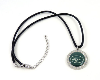 New York Jets Crystal Circle Necklace