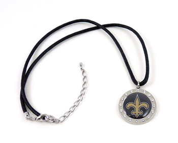 New Orleans Saints Crystal Circle Necklace