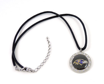 Baltimore Ravens Crystal Circle Necklace