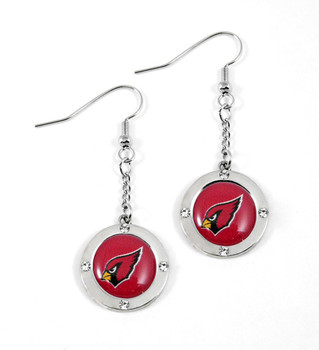 Arizona Cardinals Round Crystal Dangler Earrings
