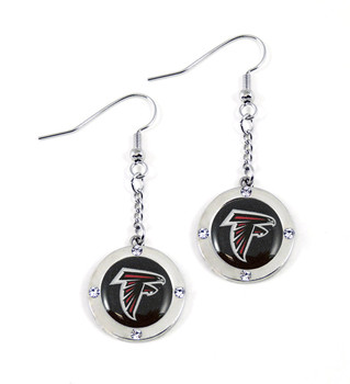 Atlanta Falcons Round Crystal Dangler Earrings