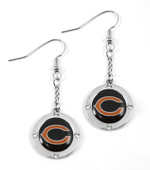 Chicago Bears Round Crystal Dangler Earrings
