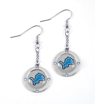 Detroit Lions Round Crystal Dangler Earrings