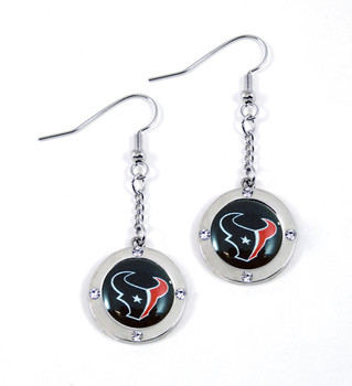 Houston Texans Round Crystal Dangler Earrings