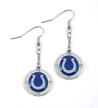Indianapolis Colts Round Crystal Dangler Earrings