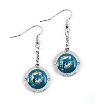 Miami Dolphins Round Crystal Dangler Earrings