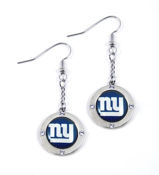 New York Giants Round Crystal Dangler Earrings
